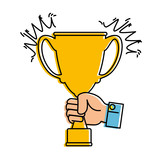 hand with trophy cup award icon vector illustration design - 182107205