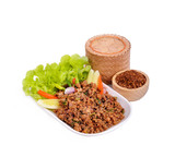 Spicy minced pork on dish  isolated.Chilli.Rice Bamboo Basket.Thai food. - 182110604