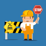 construction worker cartoon holding a construction sign vector illustration graphic design - 182115872