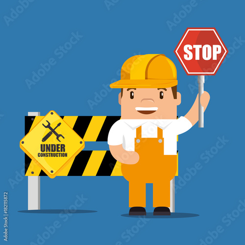 construction worker cartoon holding a construction sign vector illustration graphic design