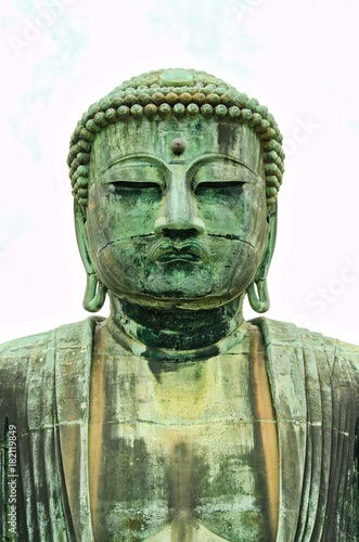Foto op Canvas Boeddha Kamakura Buddha on White