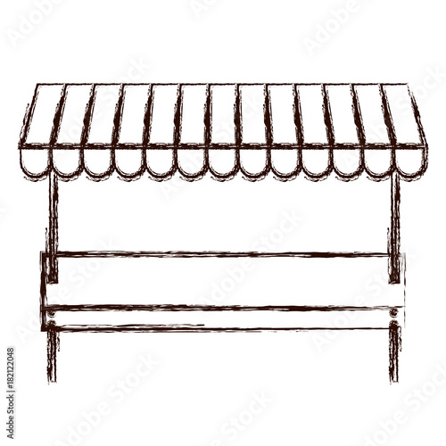 supermarket shelf of one level in brown blurred silhouette vector illustration