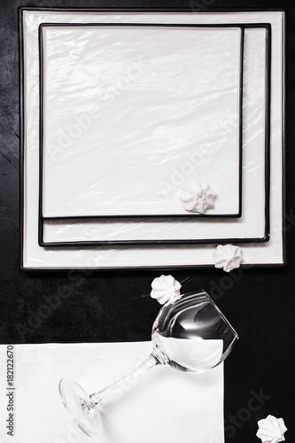 Wine glass on black and white background. Geometric abstract contrast. Strict lines. Perfectionist's heaven concept
