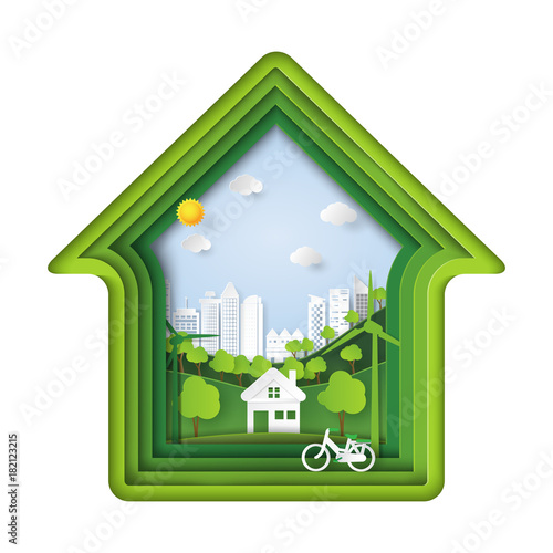 Green living house with eco city abstract paper art background.Ecology and environment conservation with nature concept.Vector illustration.