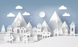 Illustration of cityscape with  Urban Countryside with full moon and snow, Merry Christmas and winter season , paper art and craft style. - 182127021