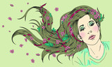 Young beautiful girl with long hair. Hair care vector illustration.