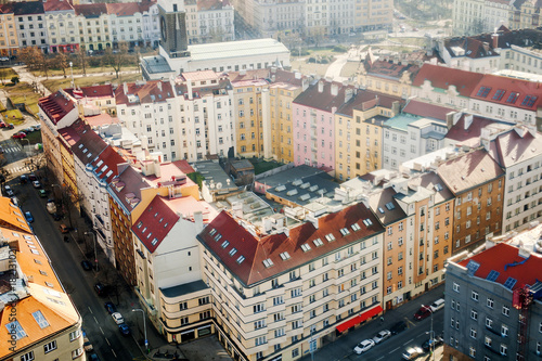 Staande foto Praag Prague characteristic buildings in city center aerial view, Czech Republic