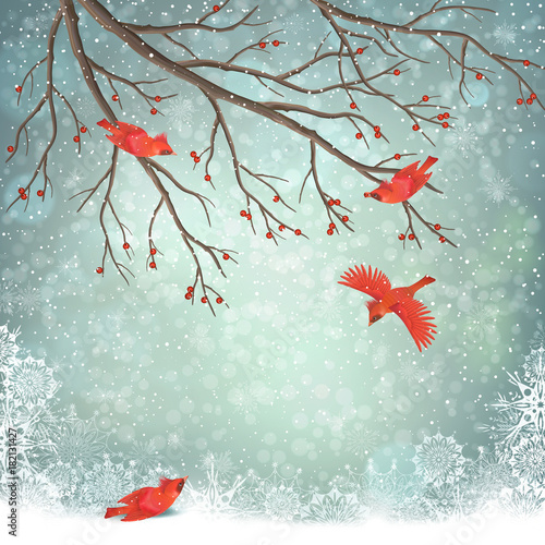 Wall mural Vector Winter Landscape