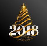 Fototapety New Years 2018. Greeting card with  Christmas tree and  white inscription