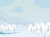 Winter snowy day landscape background.