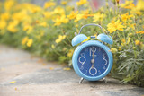 Blue clock in soft pastel blush background - 182134288