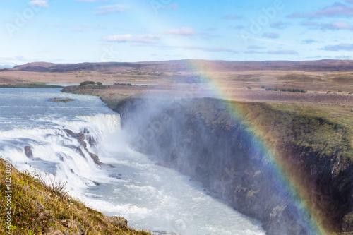 In de dag Natuur rainbow over Gullfoss waterfall in canyon
