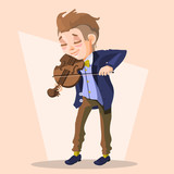 Child boy musician, with violin. Cartoon child character with violin with funny and cute face and modern outfit (clothes)