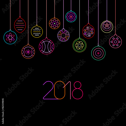 Keuken foto achterwand Abstractie Art Christmas Balls neon vector illustration