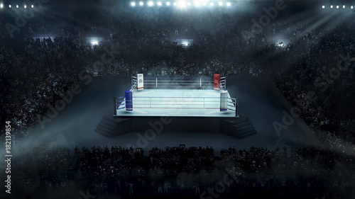 Boxing arena with stadium light