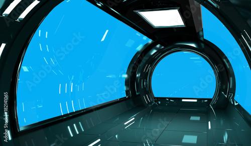 Spaceship dark interior with 3D rendering