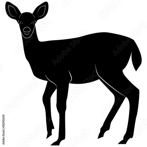 Fotobehang Hipster Hert Vector image of a silhouette fallow deer for retro logos, emblems, badges, labels template vintage design element. Isolated on white background