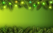 Christmas background green fir tree branches and lights