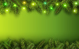 Christmas background green fir tree branches and lights - 182146246