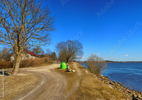 Foto op Canvas Gras Panoramic view of grassy riverside with unpaved road