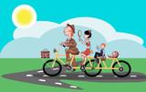 Веселая семья едет по дороге на велосипеде ,векторная иллюстрация - 182147204