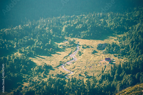 Foto op Canvas Groen blauw Aerial view Mountains Landscape camping and forest Summer Travel scenic