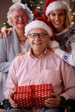 Christmas portrait - family with wearing Santa caps. - 182148223