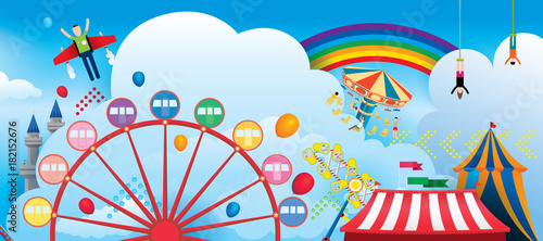 Fototapeta Vector Illustration of amusement park with fantasy theme and rainbow in the sky background.