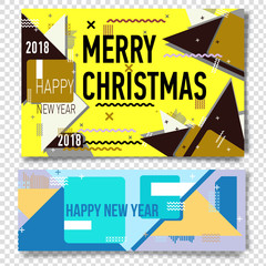 Merry christmas New Year design, eye catching banner template. Bright colorful vector illustrations for greeting card,