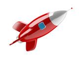 Isolated modern digital rocket 3D rendering - 182153836