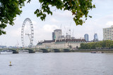 View of the Skyline of London with London Eye over the Thames River - 182153865