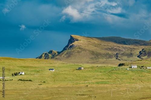 Foto op Aluminium Blauwe jeans lands between sky and ocean panorama of Scotland in England in summer