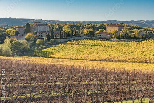 Foto op Canvas Cappuccino sunset over the chianti hills in autumn in province of Siena Tuscany Italy...