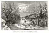 People skating on frozen lake at moonlight surrounded by a snowy landscape. Old illustration by Currier & Ives, publ. in New York, 1868 - 182160446