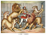 Brave lion tamer surrounded by hungry beasts in a cage. Old illustration by unidentified author, publ. in Cincinnati, 1873 - 182161080