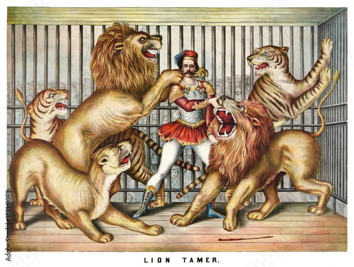Brave lion tamer surrounded by hungry beasts in a cage. Old illustration by unidentified author, publ. in Cincinnati, 1873
