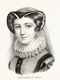 Old portrait of Mary, Queen of Scotland. Traditional royal headdress. Old illustration by Currier & Ives, publ. in New York, 1875 - 182161257