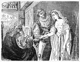 Fortune teller reads woman hand in a esoteric chiromancy room. Old Illustration by unidentified author, published on Magasin Pittoresque, Paris, 1834 - 182162057