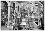 Medieval dutch printing house working intensively with his workers. Old illustration by Stradanus published on Magasin Pittoresque Paris1834 - 182162401