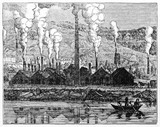 Ancient factory producing a large smoke and pollution amount in front of a river, Le Creusot foundry France. Old Illustration by unidentified author published on Magasin Pittoresque Paris 1834 - 182164013