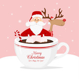 Vector reindeer and Santa Claus with cup of coffee on pink background - 182166011