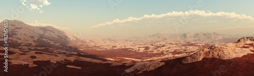 Foto op Canvas Zalm panorama of Mars, Martian landscape, surface of Mars, banner