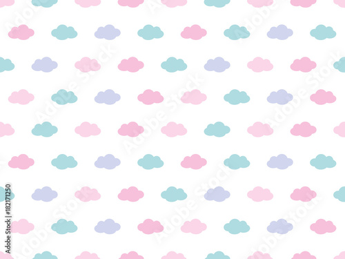 Cute Clouds Pattern. Endless Vector. - 182171250