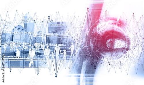 Fondo abstracto de tecnologia y ciencia.Cara y detalle de ojo.Siluetas de gente y ciudad.Concepto de internet y cibernetica