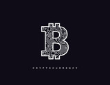 Outline bitcoin sign textured with circuit board pattern.