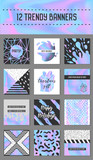 Abstract Creative Cards Posters Set with Holographic Elements. Trendy Hand Drawn Design for Banner, Placard, Invitation. Hipster Futuristic Brochure, Flyer, Leaflet. Vector illustration - 182191217