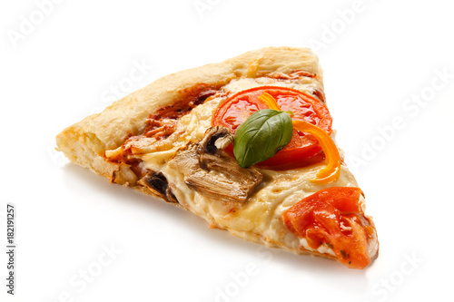 Piece of pizza on white background Poster