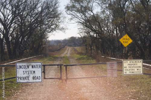 Foto op Canvas Zalm Dirt Road with Fence