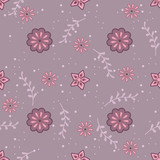 Cute seamless pattern with twigs and flowers