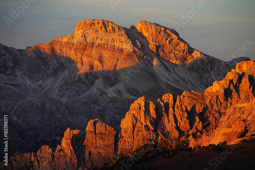 Foto op Canvas Chocoladebruin Sunset light in the Dolomites, Italy, Europe